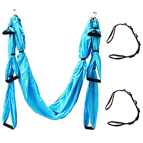 QUBABOBO Nylon Taffeta T210 Anti-Gravity Yoga Swing, Sling Inversion Hammock with 664lb Load Skyblue