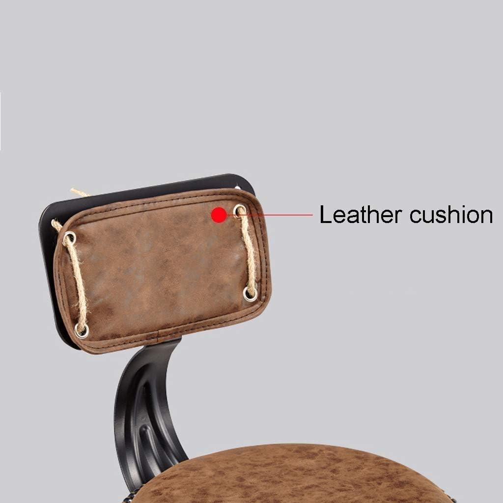 JJLL Hauteur réglable Tabouret pivotant Roulant Chaise Ronde Siège Heavy Duty Base de métal for Salon, Massage, Usine, Magasin (avec Dossier, Noir) (Color : B) C