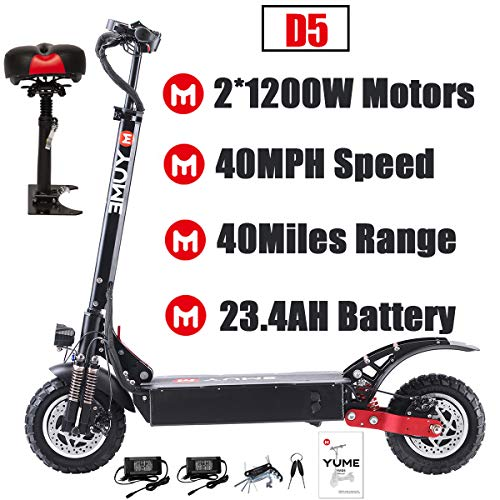 Yume D5 Powerful Dual Motor Electric Scooter for Adults, 52V 2400W 10' Off Road Tires E-Scooter, Up to 40 Mile & 40 MPH Fast Kick Scooter, 330lbs Max Load Weight Folding Pro Scooter, Removable Seat