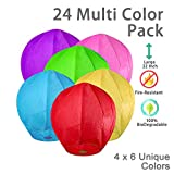 OOKU Large 34' Chinese Sky Lanterns 12 Pack Colorful 100% Biodegradable Lanterns | Japanese/Chinese Lanterns for Weddings, Celebrations, Ceremonies | EcoFriendly 2 x 6 Colors Wishing Lanterns