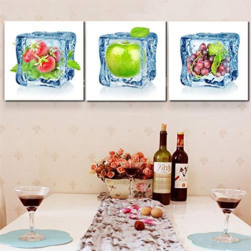 UDPBH 3 Paneles Lienzo Arte De La Pared Pintura Arte Contemporáneo Frutas De Hielo Decoración De Arte para La Sala De Estar Decoración del Hogar Y La Cocina