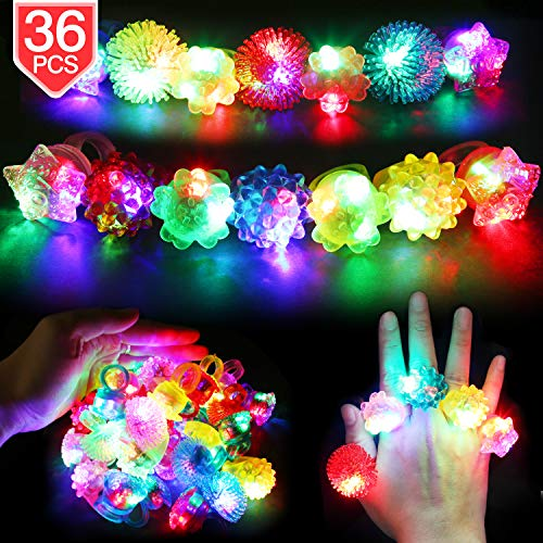 PROLOSO LED Light Up Jelly Rings Diamond Bumpy Rings Glow in The Dark Party Supplies Soft TPR Finger Blinkers Flashing Toys for Party Favors 36 Pack