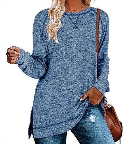 Nekosi beiläufiges Sweatshirt der Frauen Lange Hülse Loses Herbst Pullover Seite Split Tunika Blau Medium Tops
