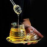 Tarro de miel transparente con tapa y tapa de cristal estilo colmena