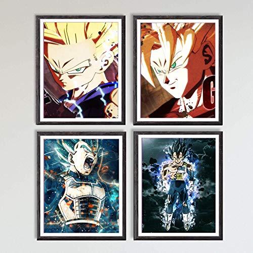 Cuadros sobre lienzo de los héroes de Ultra Dragon Ball Son Goku, Gohan y Vegeta, obras de arte con diseños de manga y anime, 20,32 x 25,4 cm, sin marco, juego de 4 unidades