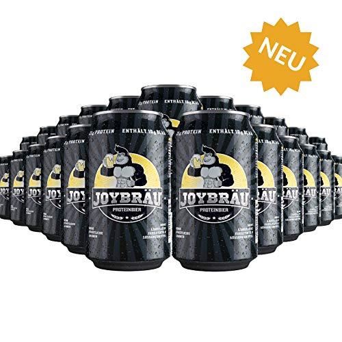 JoyBräu Proteinbier - Alkoholfrei - 21g Protein/Dose - Erfrischender Biergeschmack mit Zitrusnote - Mit 10g BCAA - Vegan (6/24x0,33l Dosen) (24)