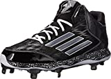 adidas Men'sPerformance PowerAlley 2 Mid Baseball Cleat Metal Spikes, Black/Carbon, 11.5 M US