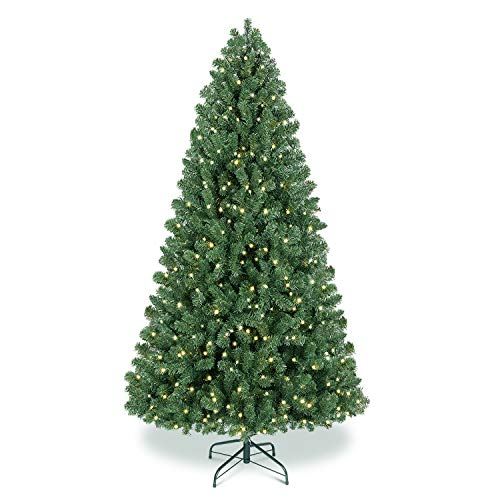 Benazcap Premium 7.5FT Pre-lit Artificial Spruce Hinged Christmas Tree,Xmas Tree with 470 Lights, 1602 Branches Tips and Foldable Stand for Holiday Decor