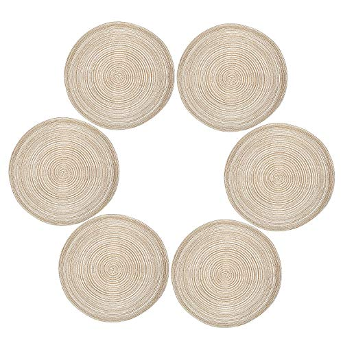 Diealles Manteles Individuales, Mantel Individual Redondo Resistente de Tejido al Calor Alfombrillas de Comedor 36 cm Color café (Juegos de 6)