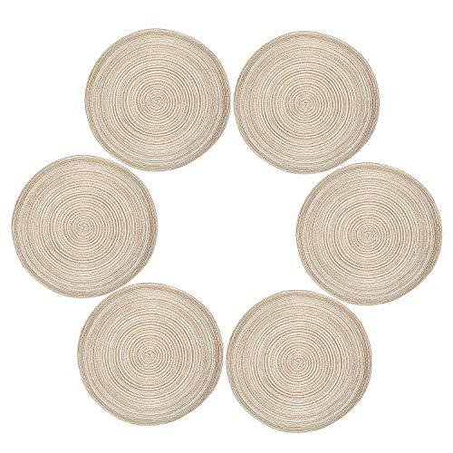 Diealles Tovagliette (Set di 6) Tovaglie Rotonde con Tappetini da Pranzo Rotondi in Tessuto Resistente al Calore 36 cm Colore del caffè