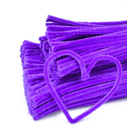 Craft Pipe Cleaners 300 PCS Purple Chenille Stem 6MM x 12 Inch Twistable Stems Children's Bendable Sculpting Sticks for Crafts and Arts (Purple)