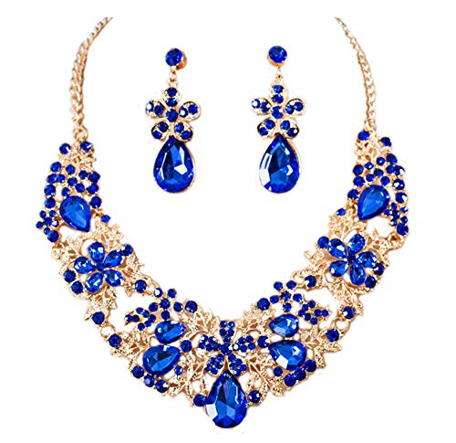 Gold Tone Flower Rhinestone Bridal Wedding Jewelry Set Bib Collar Necklace and Dangle Earrings (Indigo)