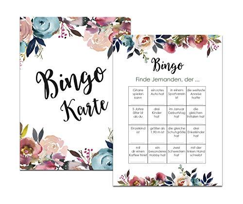 Nastami Bingokarten Boho Hochzeit, Hochzeitsspiel für Gäste und Brautpaar, 50 Stück