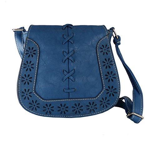Handtasche - Umhängetasche - Trachtentasche fürs Dirndl - gestanztes Muster - weiches Kunstleder (Blau)