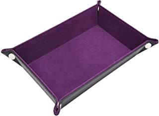 折りたたみ式 ダイストレイ PUレザー ダイスローリングトレイ 収納ボックス のために適した ボードゲーム (紫の)