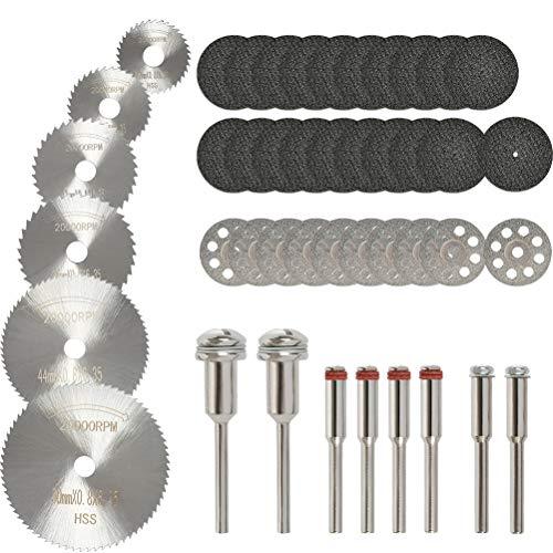 QLOUNI 36PCS Rotary Cutting Wheels Tool Kit, Mini Diamond Cutting Wheel and HSS Circular Saw Blades and Resin Metal Cutting Wheels Tools Wood Metal Stone Cutting with Mandrels