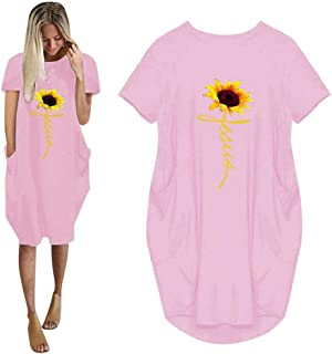 GERsome Women Summer Jumper Sleeve Pockets Midi Dress Casual O-Neck Loose Graphic Printed Baggy Dress Oversized Beach Dress
