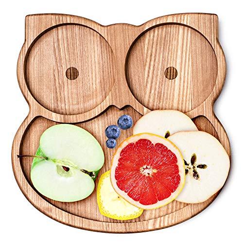 LELEKKA Platos de madera para niños de Europa, cuenco, plato de postre, vajilla infantil de madera de fresno natural, plato infantil (Owly)