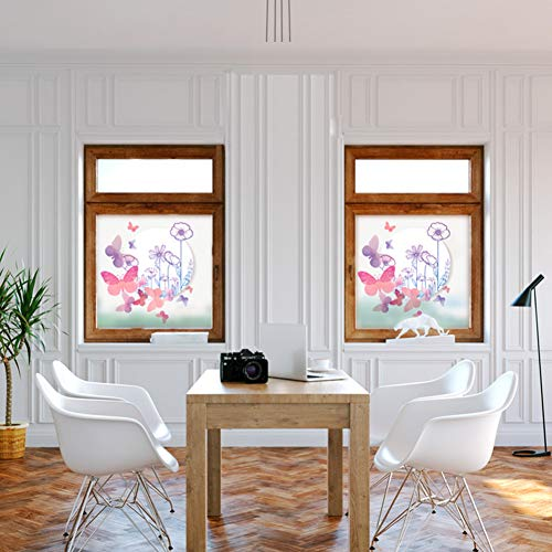 KUNHAN Raamsticker Raamfolie Mooie Vlinder Romantische Bloemen Frosted Raamfolie Glas in lood Sticker Home Decor Voor Woonkamer Slaapkamer