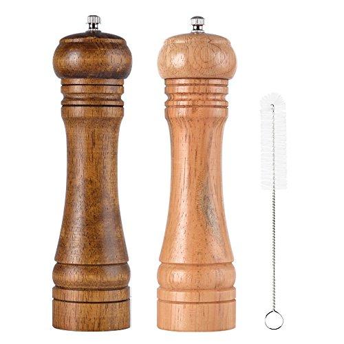 SHiZAK - Macinasale e macinapepe in legno con macinino in ceramica (2 pezzi), regolabili, 20,32 cm, ideali anche per spezie, con 1 scovolino per la pulizia incluso
