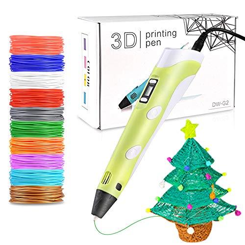 Faburo 3D Penna Stampa con 10 Colori Diversi PLA Fliaments Set, Penna 3D Professionale con...