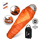 WhiteFang Mummy Sleeping Bag with Compression Sack,Wearable Portable and Lightweight for 3-4 Season Adults Camping, Hiking, Traveling, Backpacking and Outdoor(Orange)