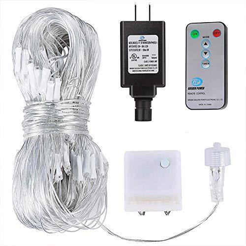 LFDHSF LED-Netto-Lichterketten, Außen- / Innendekorations-feenhafte Lampe Weihnachten Halloween, das wasserdichtes Vorhang-Licht mit 8 Funktionen beleuchtet-White-360lights3.6mx1.5m