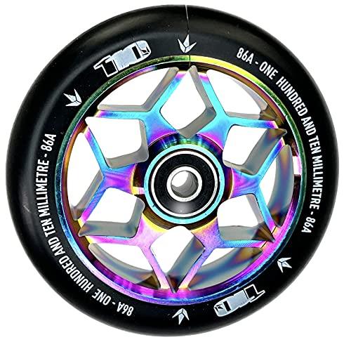 Diamond Blunt Stunt-Scooter 110mm Abec9 Wheel Kinder Roller Rolle + Fantic26 Sticker (Rainbow Neochrome)
