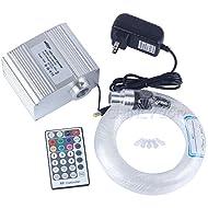 CHINLY 10W RGBW Twinkle 28key Remote LED Fiber Optic Star Ceiling Lights Kit 200pcs 0.75mm 6.5ft Optical Fiber+Cryatal