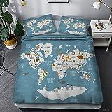 LJJYF Ropa De Cama,Juego de Cama de Estilo de Mapa náutico 3D, Funda nórdica con 2 Fundas de Almohada, habitación Infantil Individual King-E_228 * 228cm (3pcs)