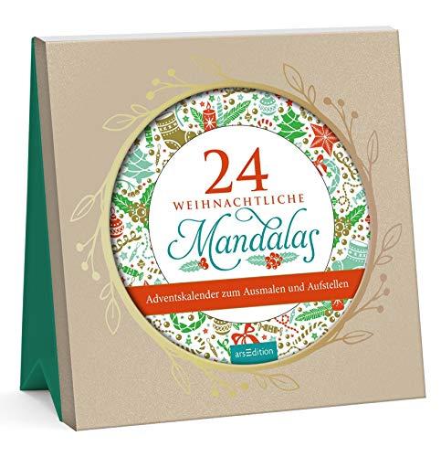 24 weihnachtliche Mandalas zum Ausmalen: 24 Karten im Schmuckrahmen