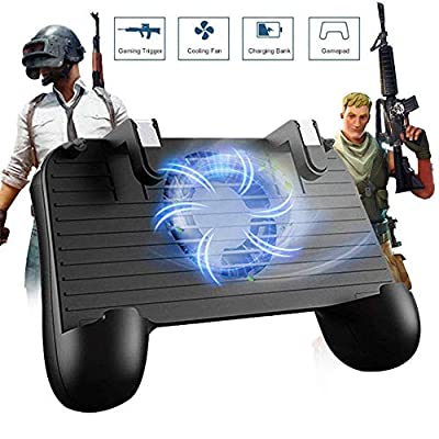 Mobile Game Controller for PUBG 5-in-1 Upgrade Version Gamepad Shoot and Aim Trigger Phone Cooling Pad Power Bank for Android & IOS Fortnite/Knives Out (Mobile Game Controller?)