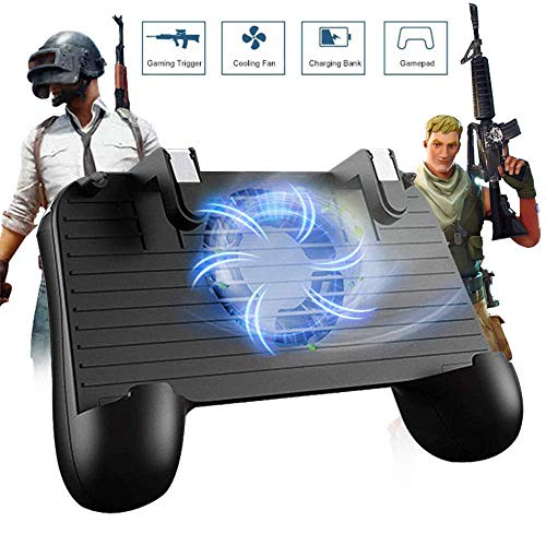 Controlador de Juego móvil para PUBG 5 en 1 versión Mejorada Gamepad Shoot y Aim Trigger Phone Cooling Pad Power Bank para Android y iOS Fortnite/Knives out1