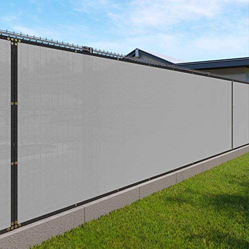 5' x 25' Privacy Fence Screen for Chain Link Fence in Light Grey with Brass Grommet 85% Blockage Windscreen Outdoor Mesh Fencing Cover Netting 150GSM Fabric with Zip Ties - Custom