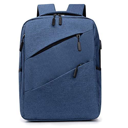 LFLDZ Laptop-Rucksack, Externe USB-Ladegeschäfts Daypack große Kapazitäts-Computer-Knapsack Einfache Studenten Schoolbag,Blau