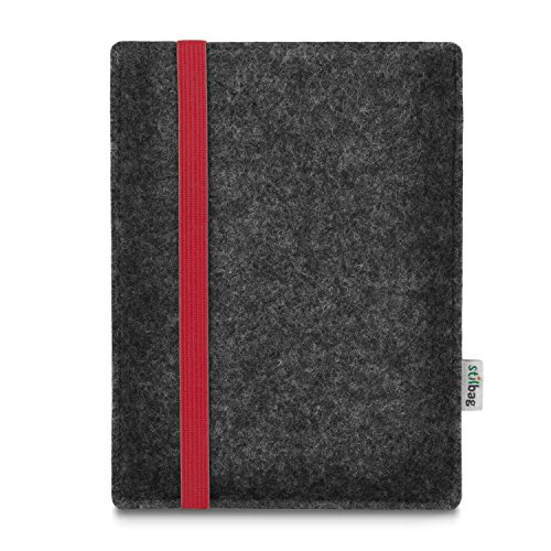 stilbag e-Reader Tasche Leon für Energy Sistem eReader Pro HD | Wollfilz anthrazit - Gummiband rot | Schutzhülle Made in Germany