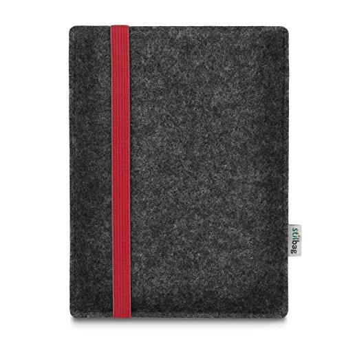 stilbag e-Reader Tasche Leon für Kobo Aura One | Wollfilz anthrazit - Gummiband rot | Schutzhülle Made in Germany