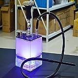 Hookah Set Micro Modern Cube Acrílico Hookah 2 Manguera con difusor Magical Remote LED Luz, Cuenco de la cachimba de silicona, Pinzas de carbón Tallo de aluminio par blue