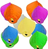 ACTIMOB Premium Quality Colorful Make a Wish High Flying Sky Lantern Paper Hot Air Balloon with Fuel Wax Candle (Pack of 10, Mix Color)