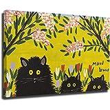 Maud Lewis Impresión de giclée en lienzo, pinturas famosas, póster de bellas artes, reproducción de decoración de pared (tres gatos negros por) 32 × 48 pulgadas (80 × 120 cm)