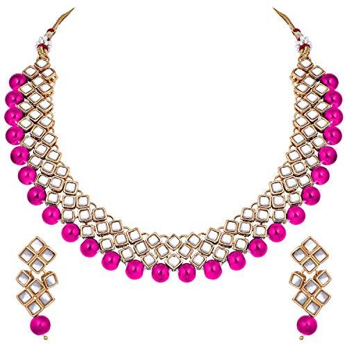 Aheli Elegante conjunto de collar y pendientes de Bollywood para boda, fiesta, joyería tradicional étnica india para mujer