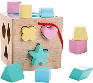 Babe Rock Shape Sorting Cube Baby Toddler Toy Classic Wooden Toy Gift for Boys & Girls Learning Educational Color Recognition Toys for Kids, 12 Pieces