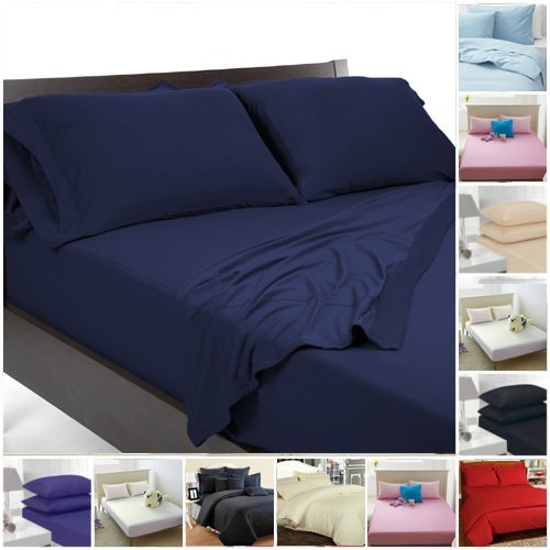 Highliving lakens, percale al, eenkleurig, polyester katoen, eenpersoonsbed, tweepersoonsbed, kingsize, tweepersoonsbed, marineblauw