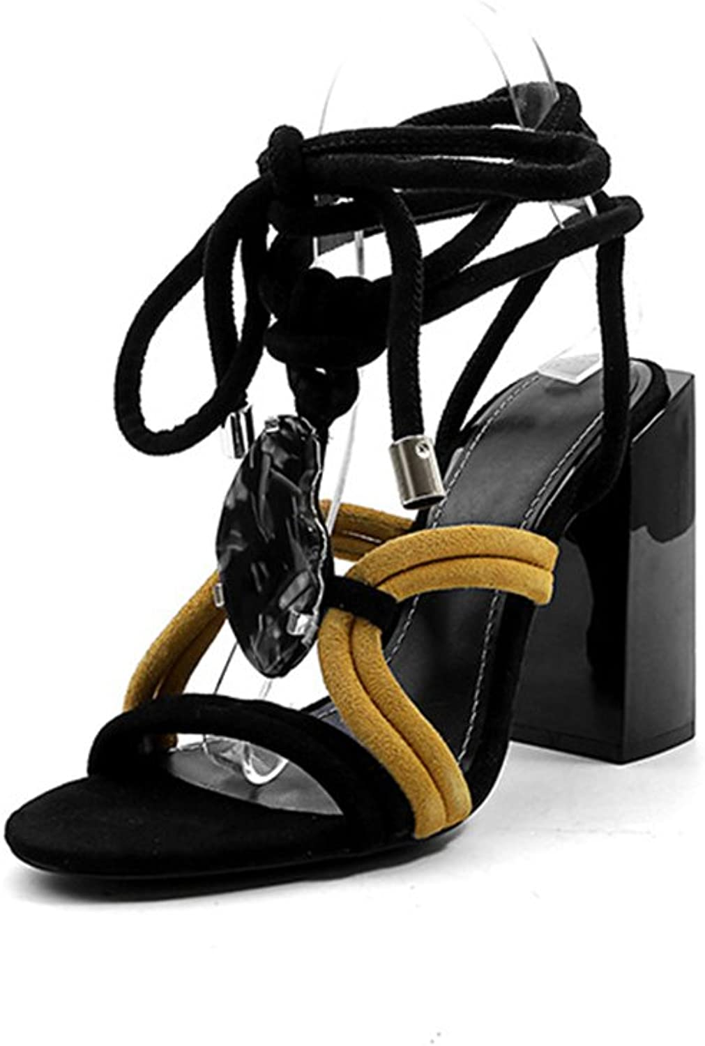 Womens's shoes Summer New Europe America Fashion Lace-up Sandals Rough Heel Leather Rome shoes for Casual Dress Party & Evening Sandals