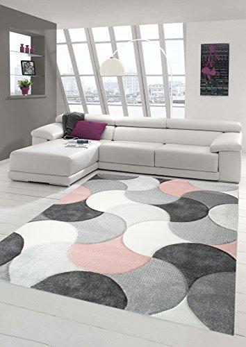 Designer und Moderner Teppich Kurzflor mit Tropfen Muster in Rosa Grau Beige Größe 120x170 cm