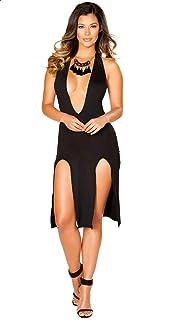 Plunging Neckline Front Slits Knee Length Dress for Women