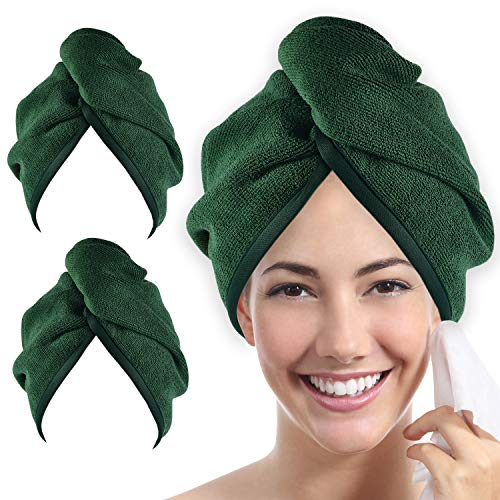 Ultra Plush Microfiber Hair Towel Wrap for Women, 2 Pack 10 inch X 26inch Purple, Ultra Absorbent Twist Hair Turban Drying Cap Hair Wrap, for Drying Curly, Long & Thick Hair (Emerald)