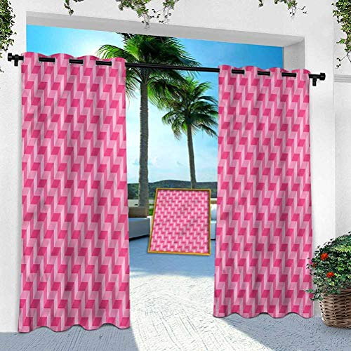 Aishare Store Patio Outdoor Curtain, Chevron,Vibrant Pink with 3D Effect, W 100' x L 84' Heavy Duty Indoor Panel for Porch Balcony Pergola Canopy Tent Gazebo Window(1 Panel)