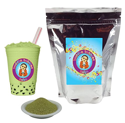 Matcha Green Tea Latte Boba / Bubble Tea Drink Mix Powder By Buddha Bubbles Boba 10 Ounces (283 Grams)