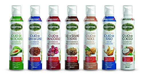 Oli Spray Nutraceutici 200 ml (Olio Spray di Avocado,Olio di Semi di Lino,Olio di Vinacciolo,Olio di Cocco,Olio di Riso,Olio di Noce,Olio di Sesamo Tostato)